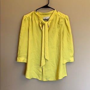 Loft yellow tie button down blouse